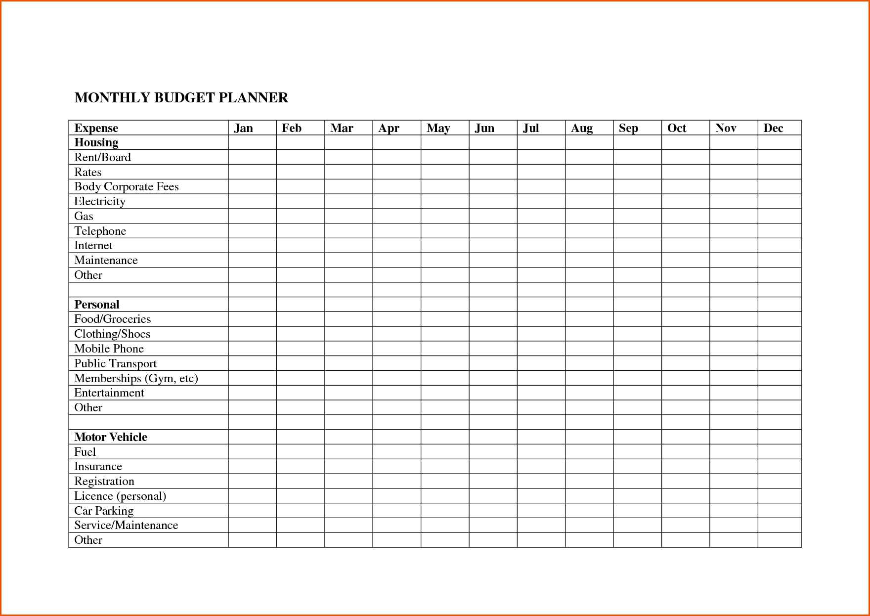 Excel Spreadsheet For Monthly Expenses Free