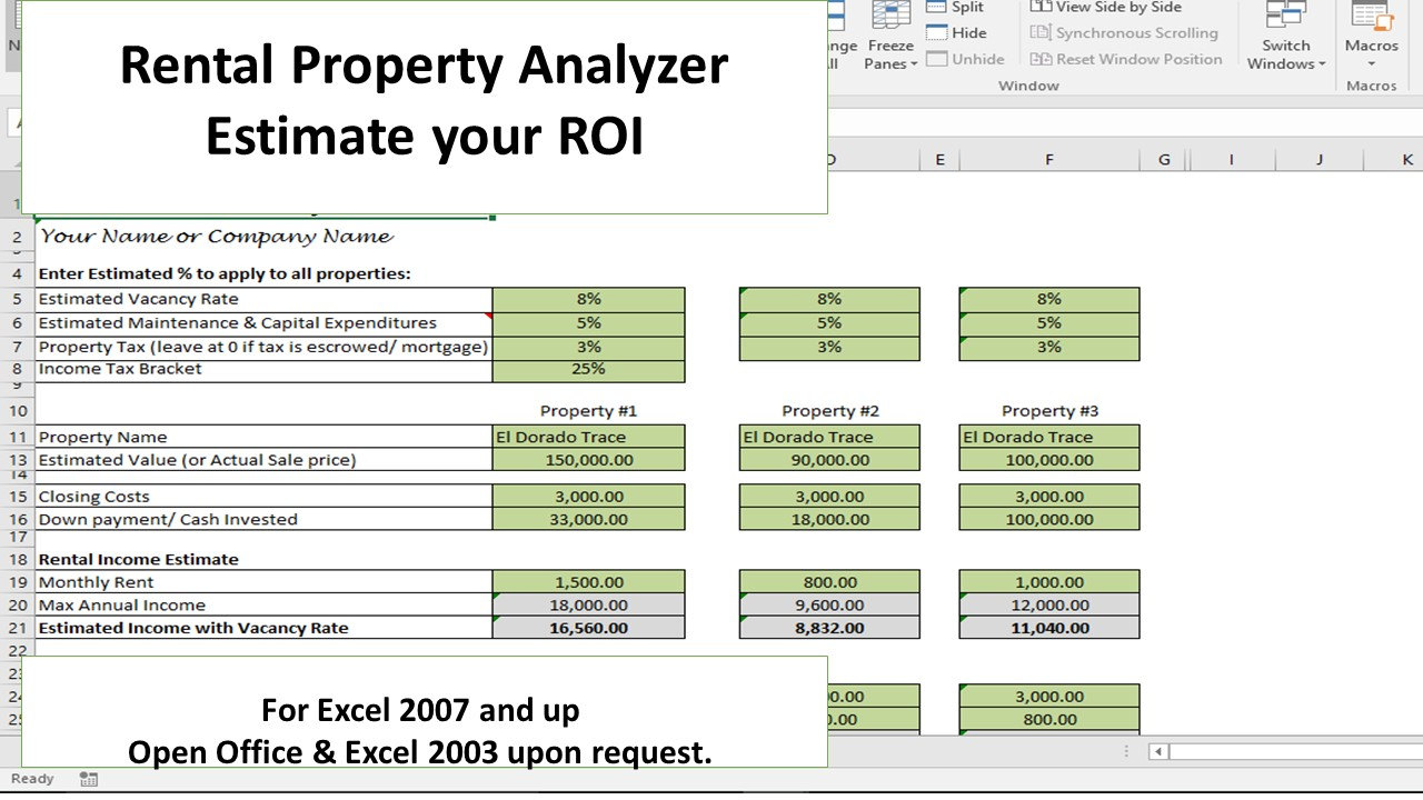 Free Excel Property Investment Analysis Spreadsheet Template ...
