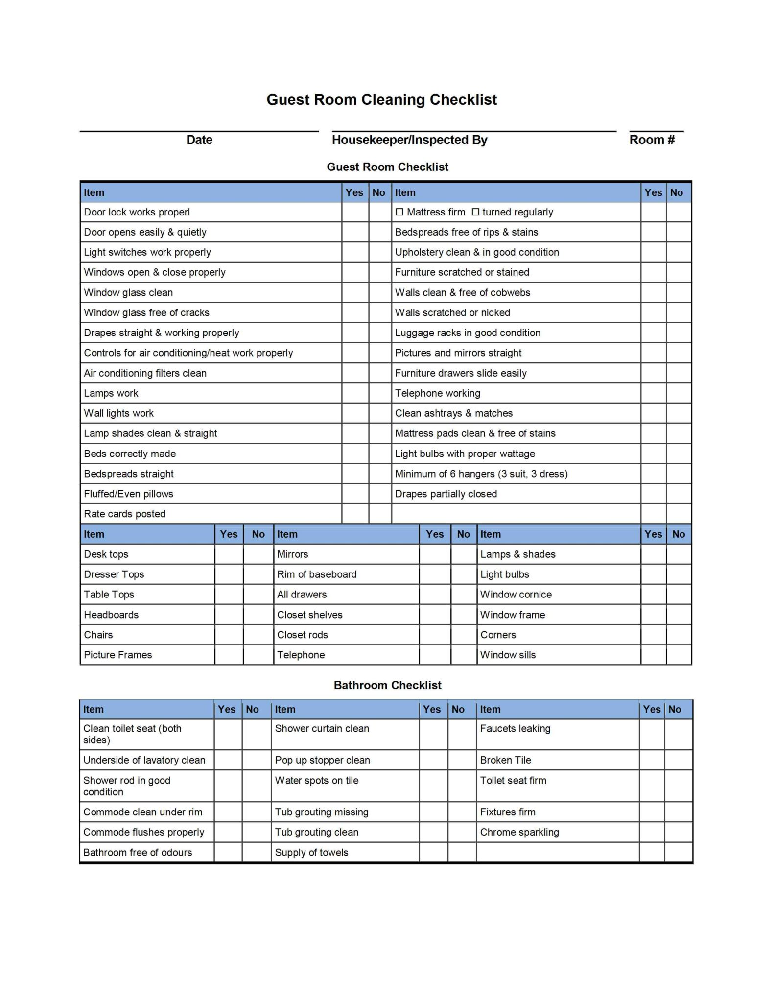 Hotel Inventory List Sample