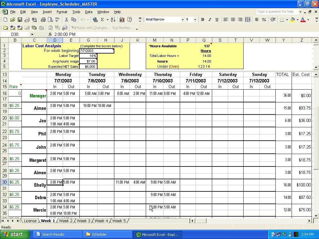 how to make a time schedule in excel