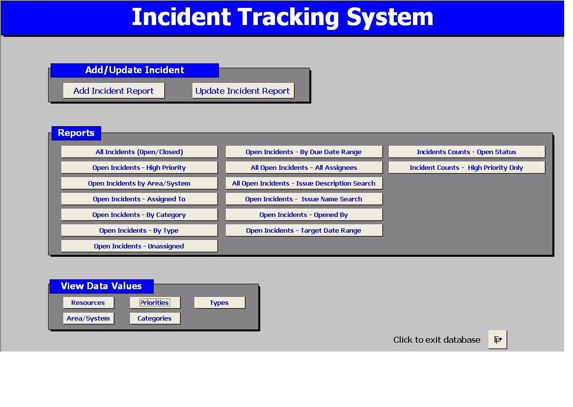 Incident Tracking Excel Spreadsheet