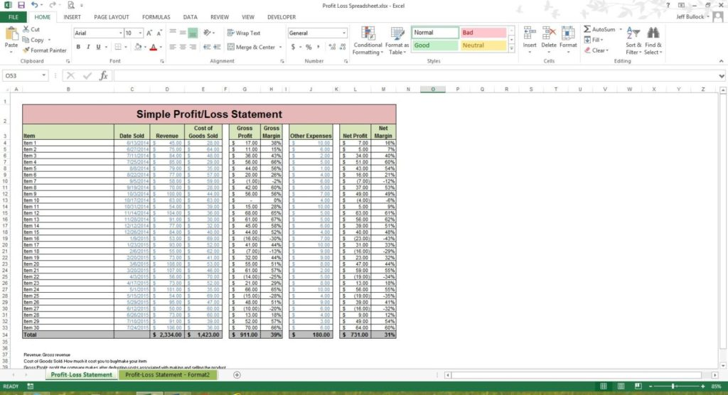 income expenditure format in excel