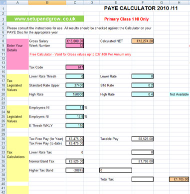 Income Tax Calculator Spreadsheet 2013