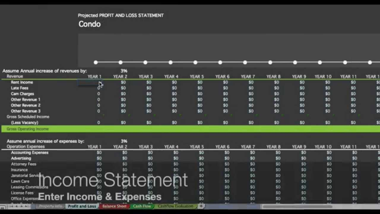 Investment Property Spreadsheet Real Estate Excel Roi