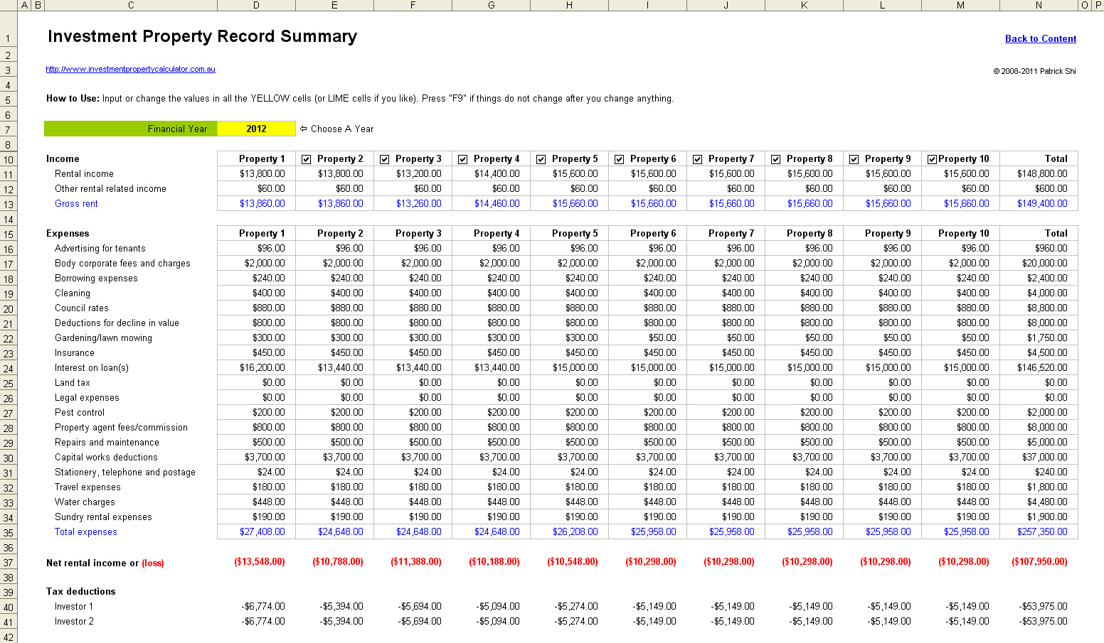 Landlord Expense Tracking Spreadsheet