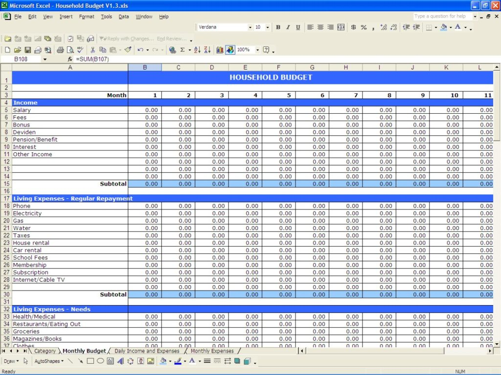 money management template