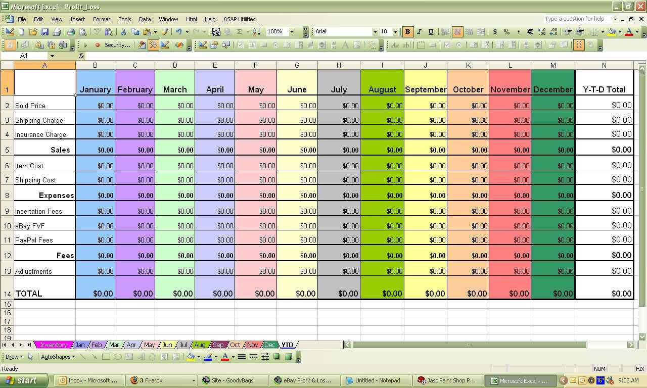 ... Monthly Profit And Loss Template Excel And Excel Stock Profit And Loss  Template ...  Excel Profit Loss Template