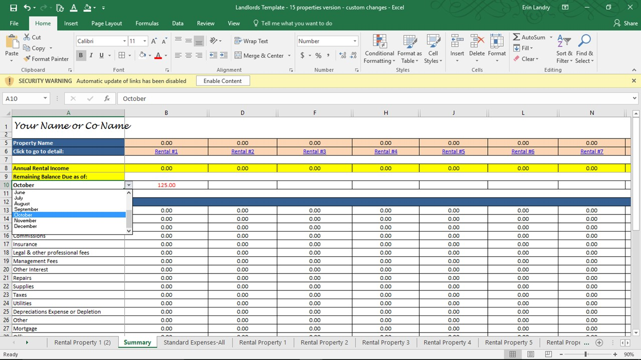 property management spreadsheet