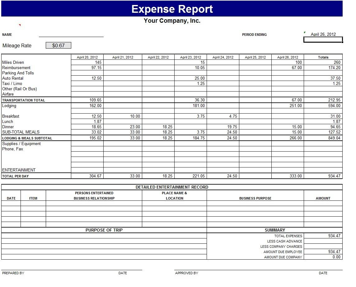 Sample Excel Sheet For Small Business