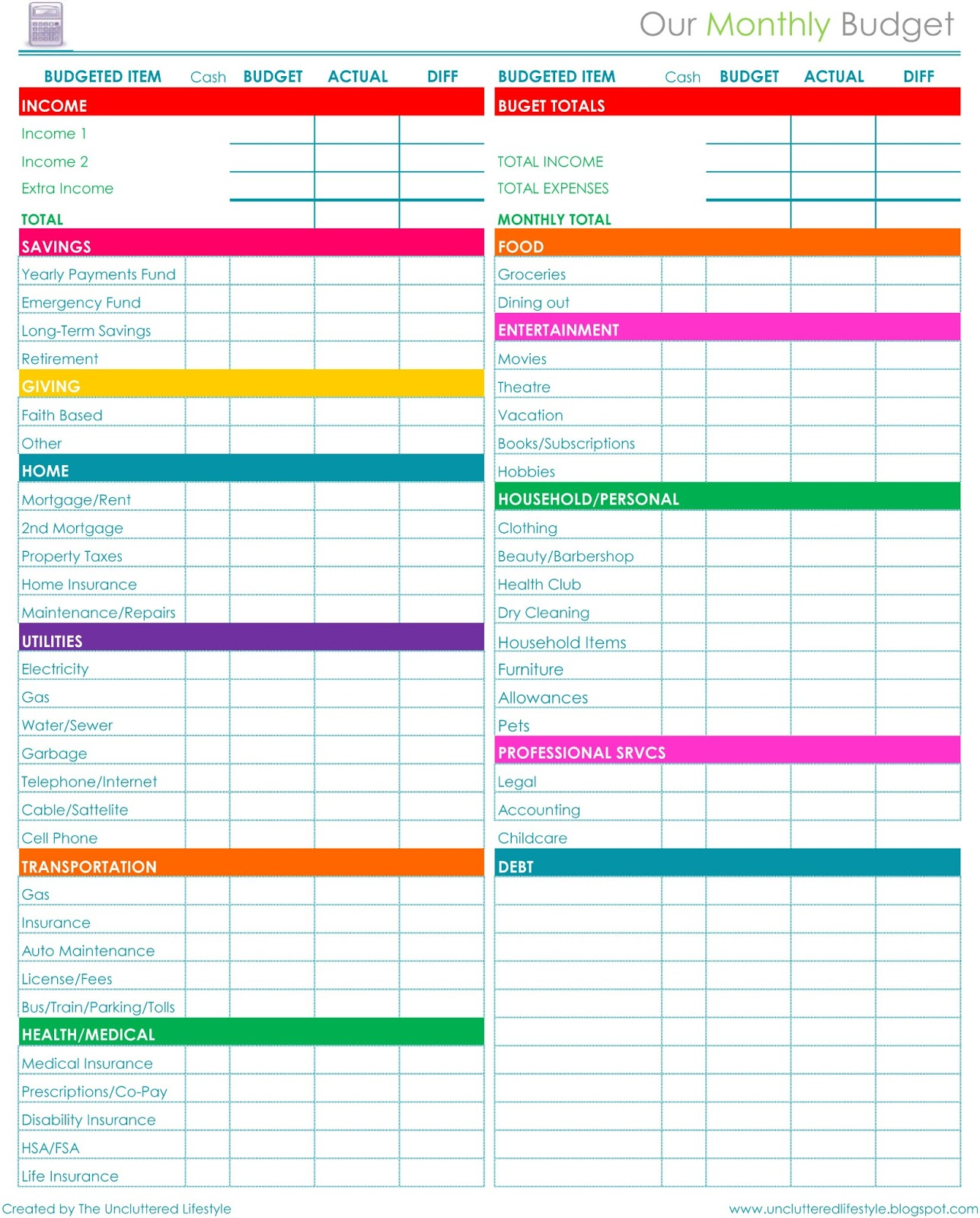 Simple Home Budget Planner