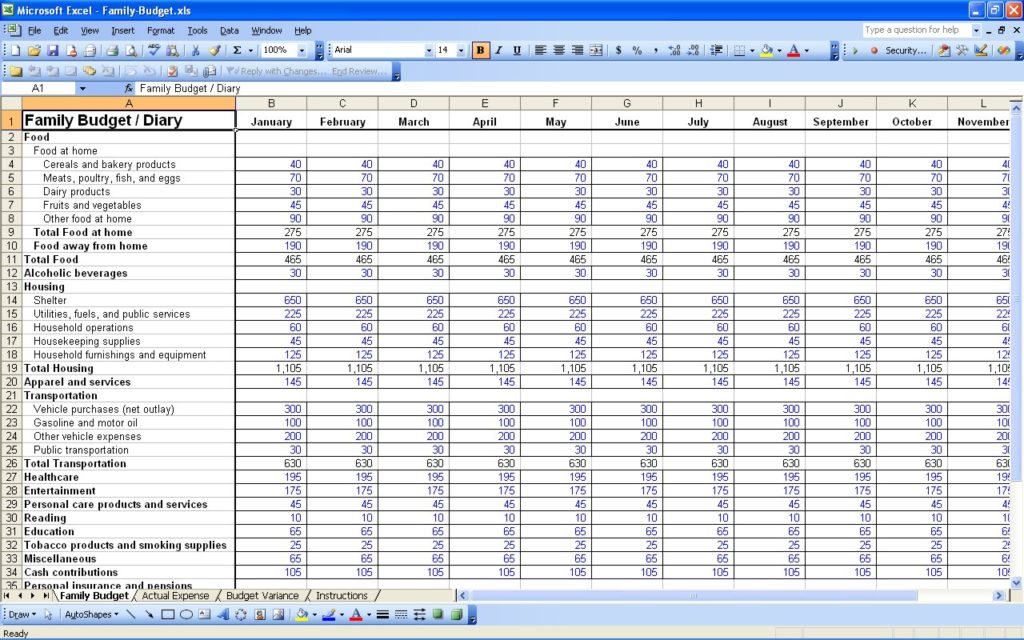 Simple Home Budget Worksheet Excel  Natural Buff Dog