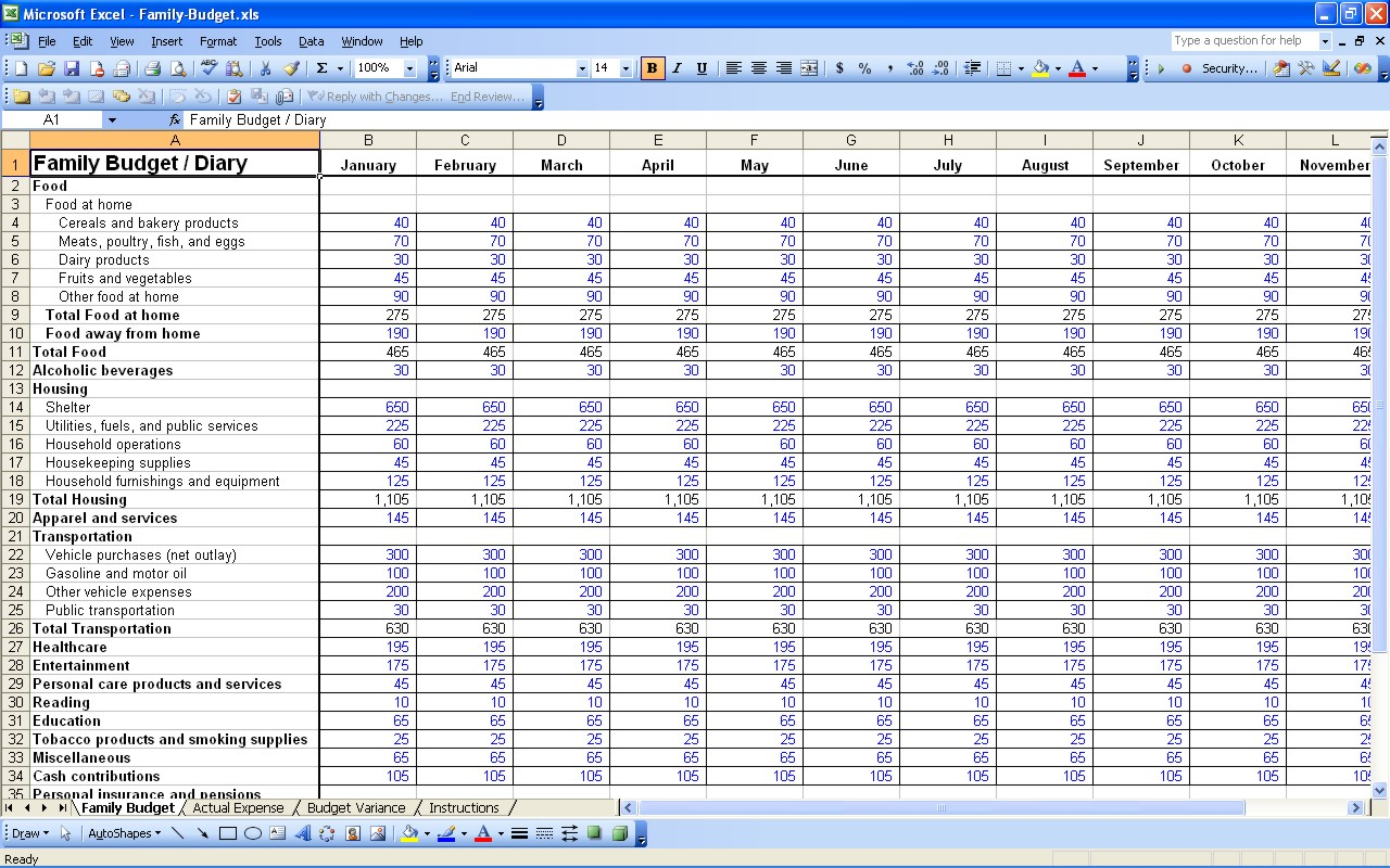 Simple Home Budget Worksheet Excel