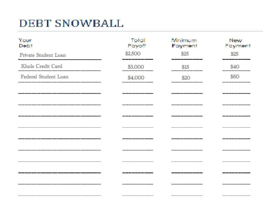 Snowball Budget Spreadsheet