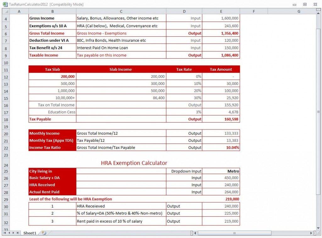 tax calculator spreadsheet