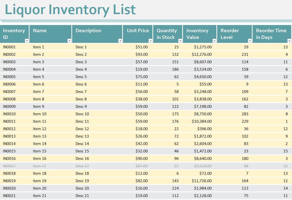 Bar Liquor Inventory Spreadsheet free