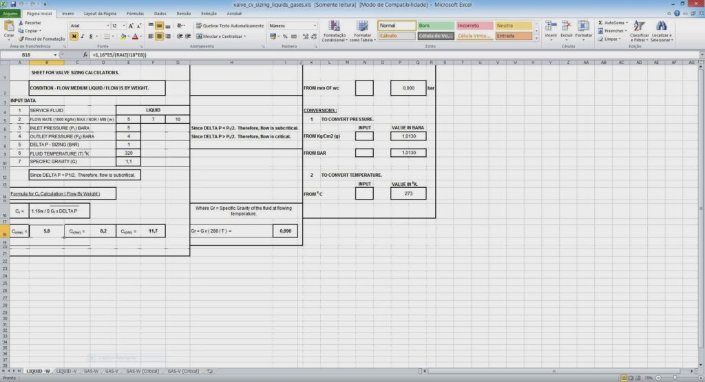 Compressor Calculation Spreadsheet