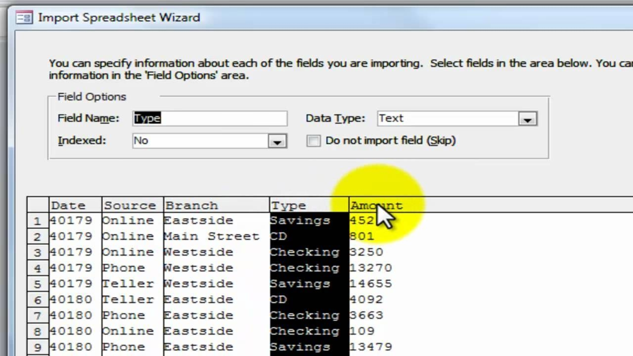 how to create a database in access 2010 from excel