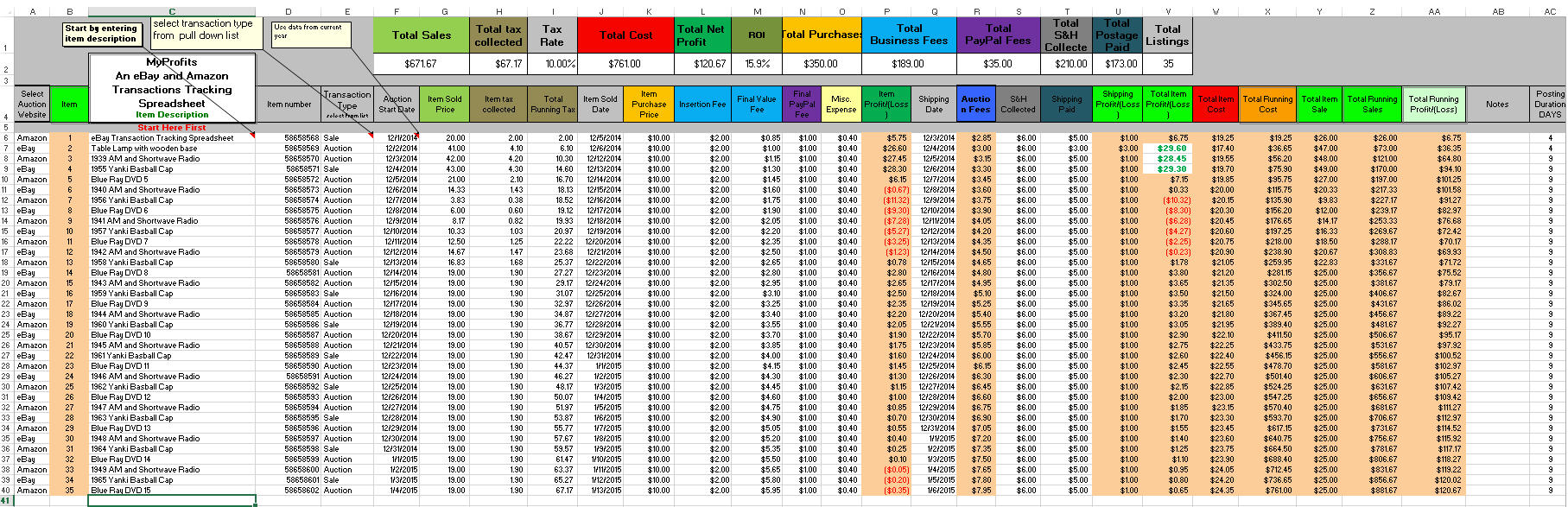 Ebay Inventory Spreadsheet