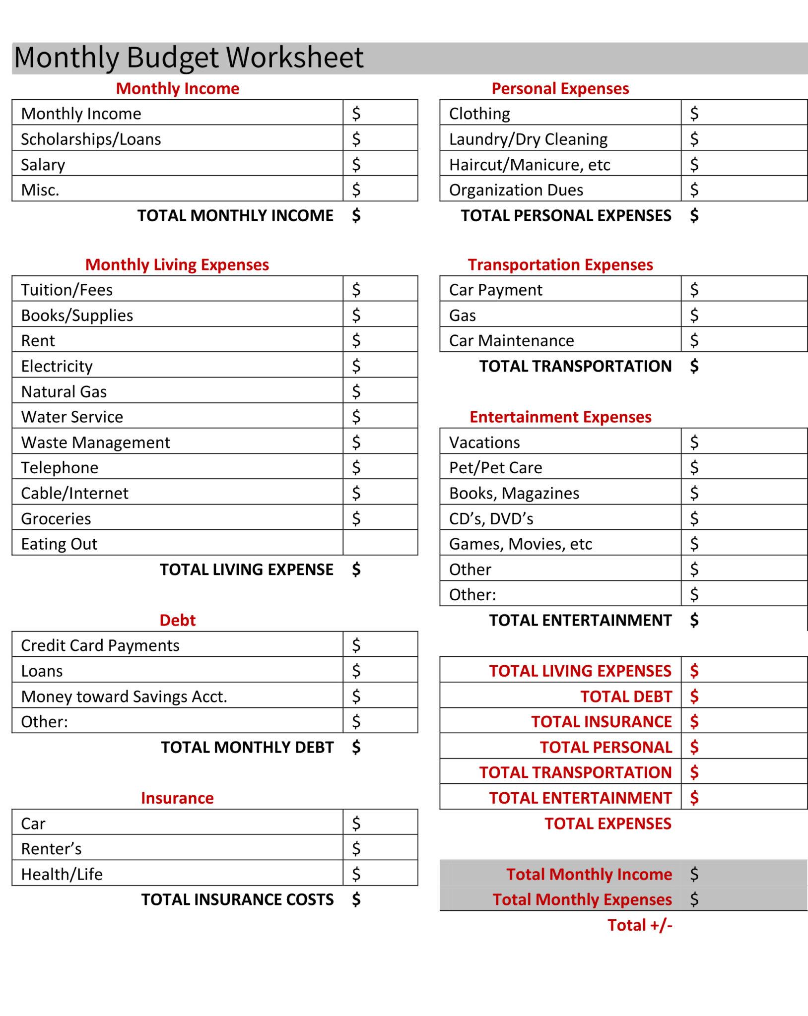 apartment comparison spreadsheet template