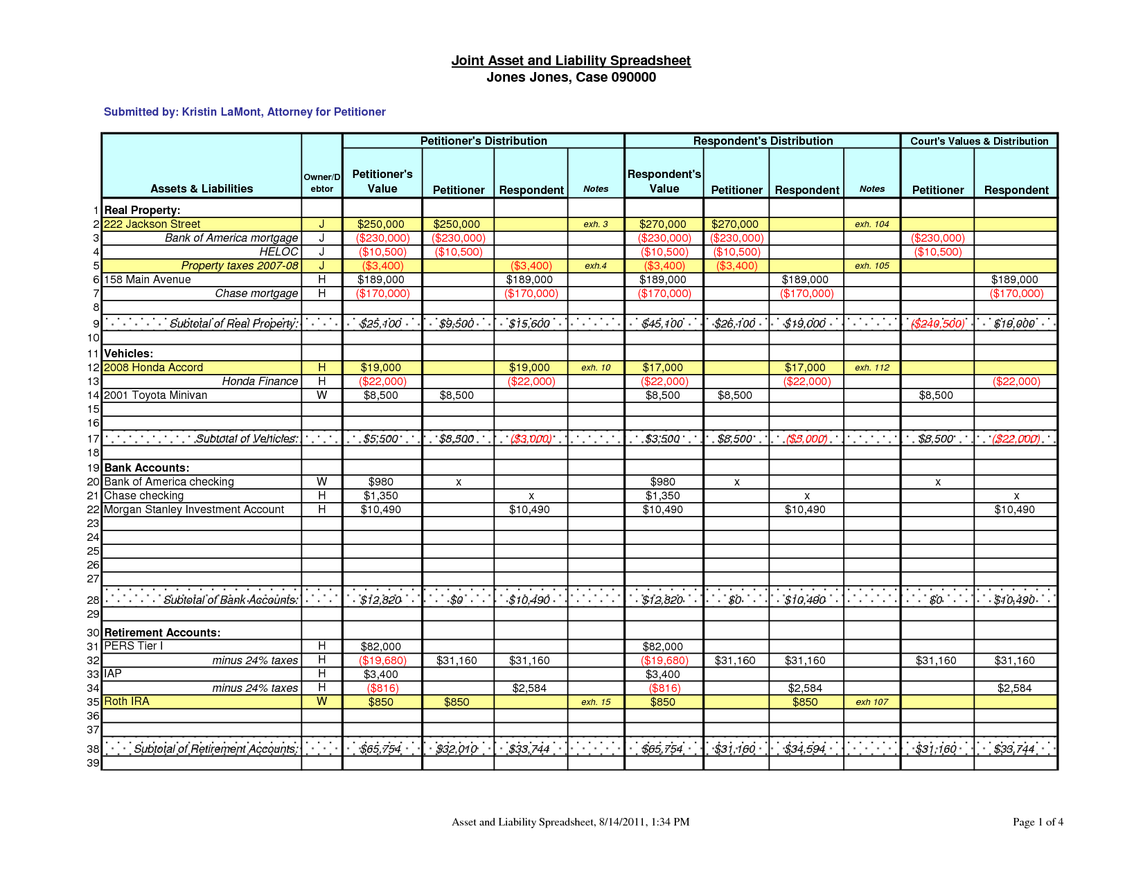 assets and liabilities spreadsheet template templates free