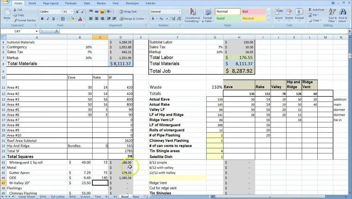 construction cost breakdown sheet