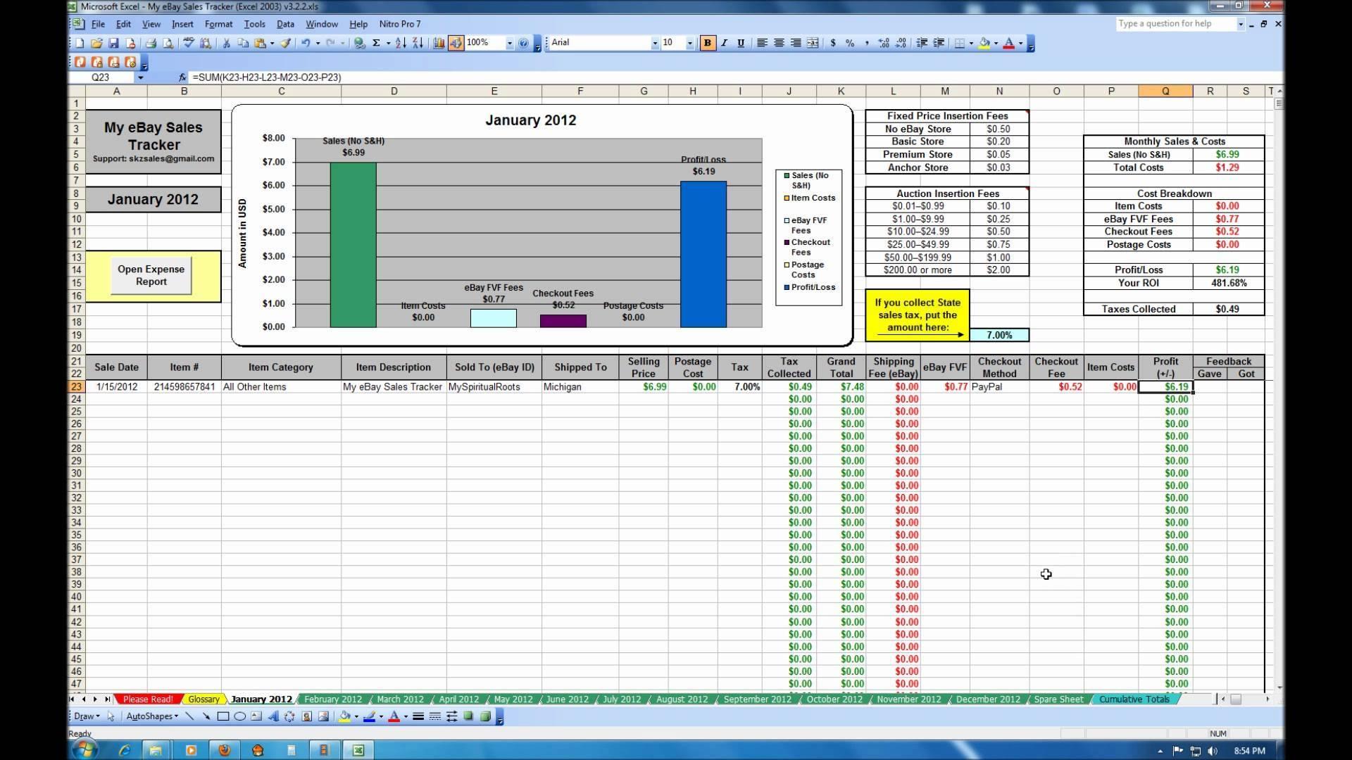 ebay inventory spreadsheet templates