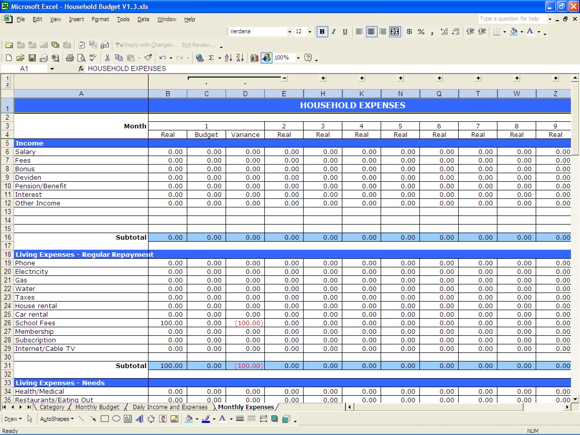 Family budget spreadsheet excel free natural buff dog family budget spreadsheet excel free alramifo Choice Image