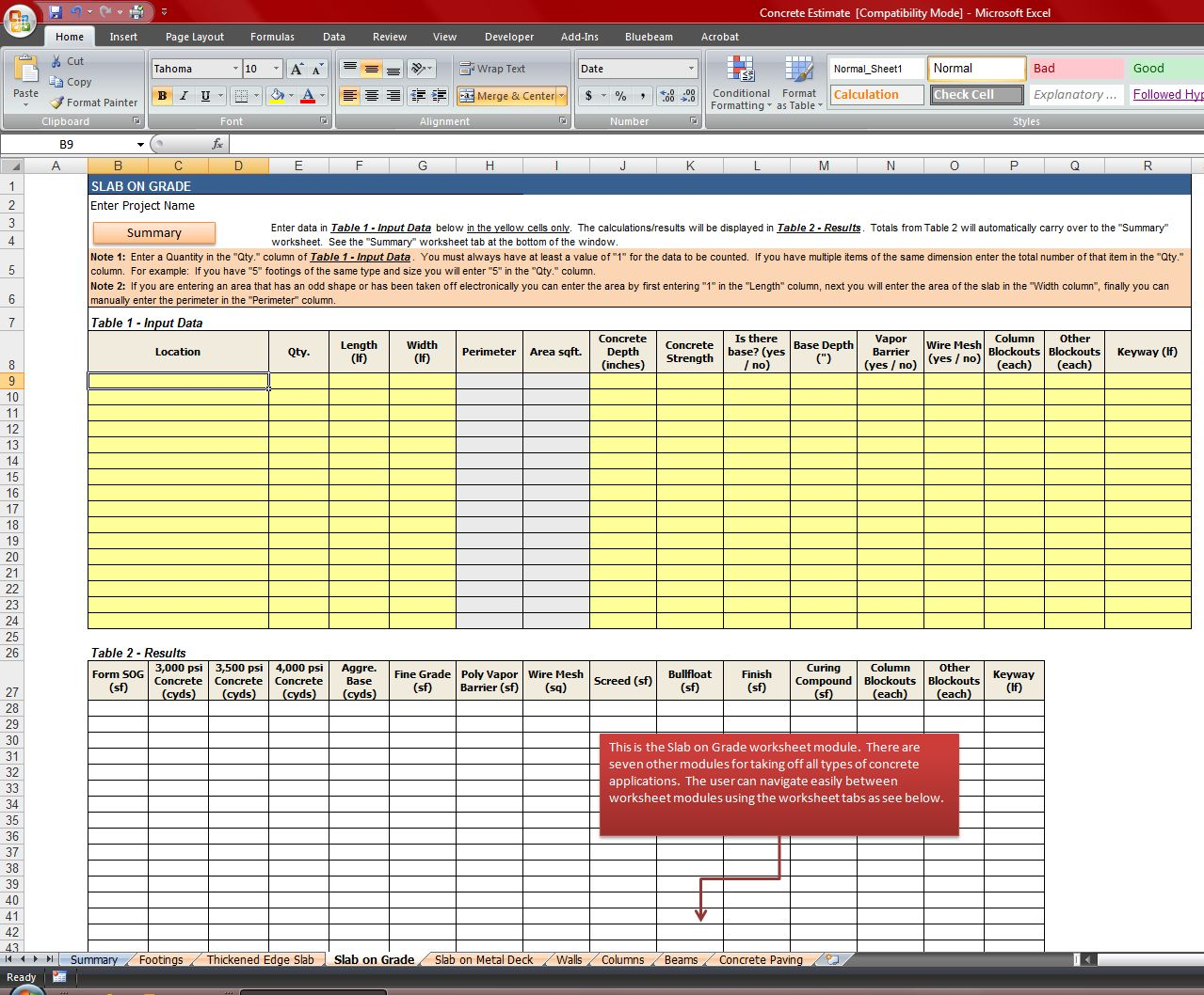 Free construction material takeoff excel template for Plumbing material spreadsheet