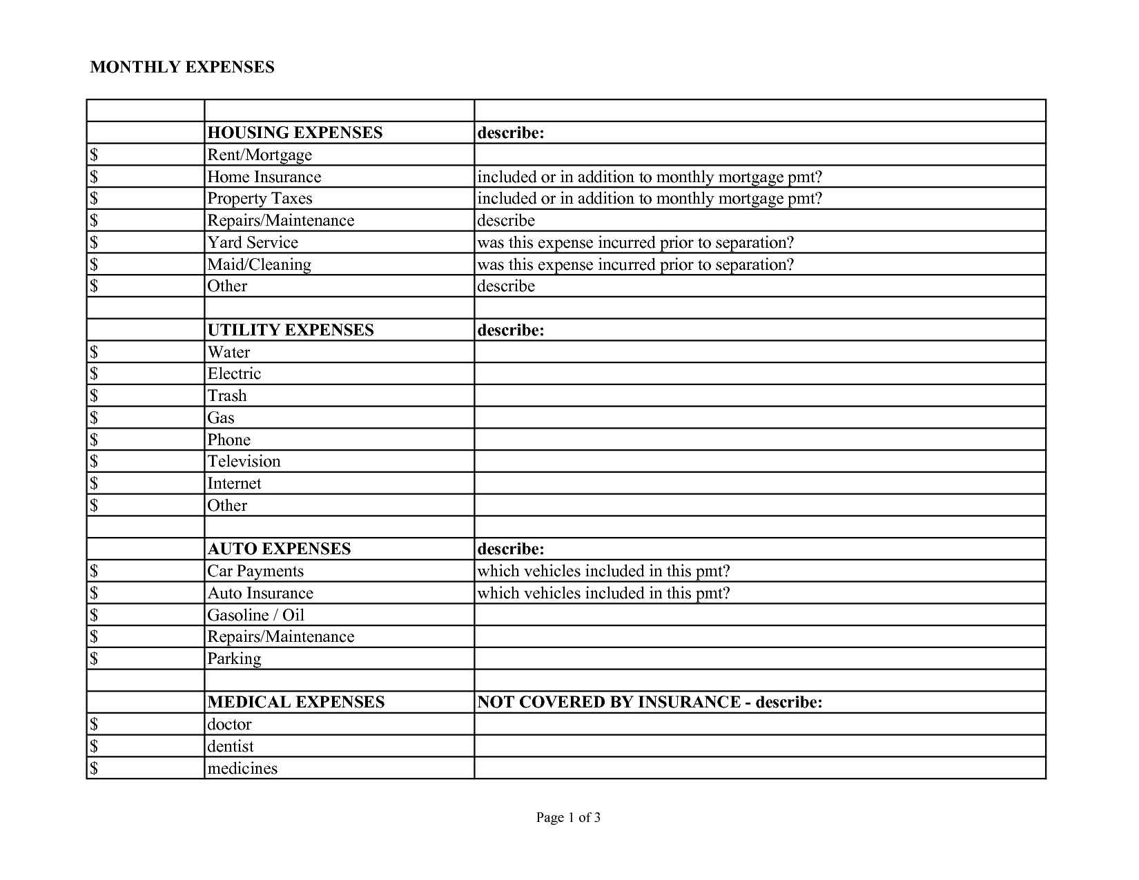 free templates example of business expenses spreadsheet