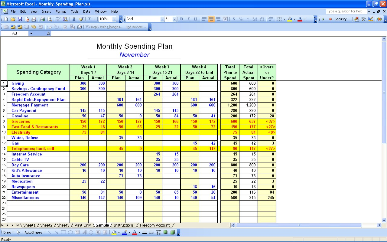 home budget spreadsheet excel free