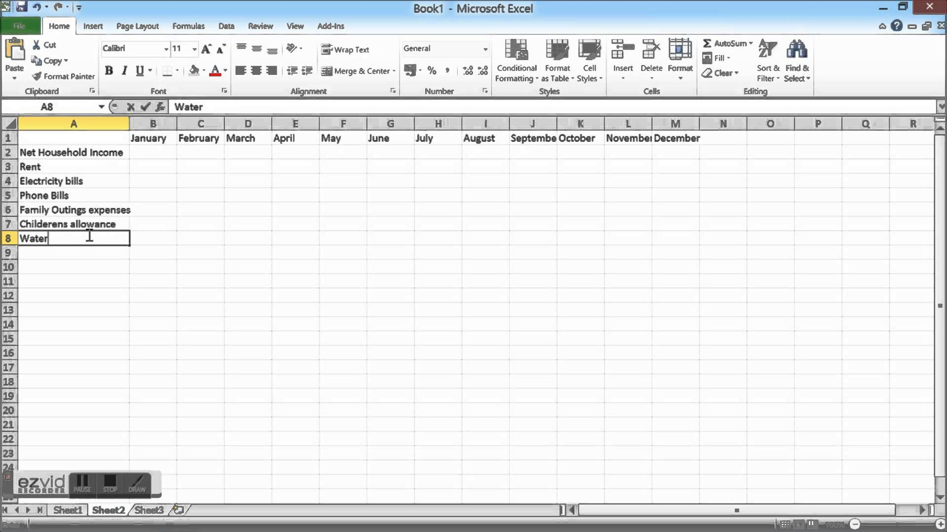 how to create a budget spreadsheet on excel
