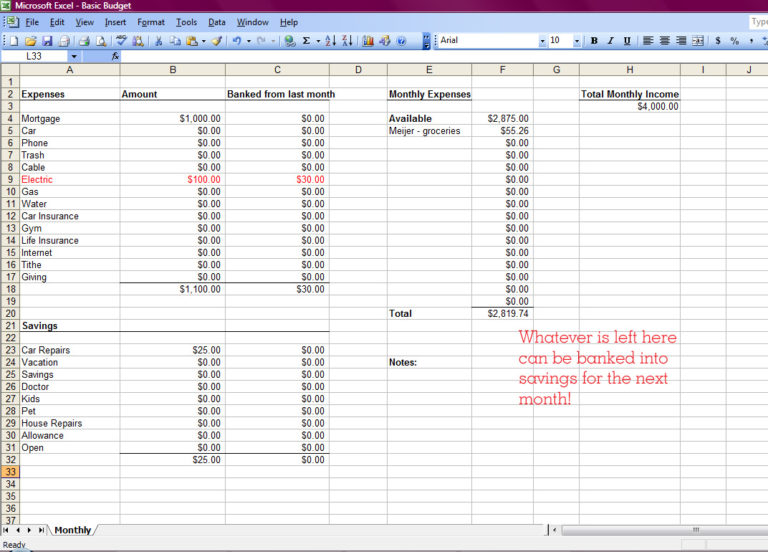 how to create budget in excel