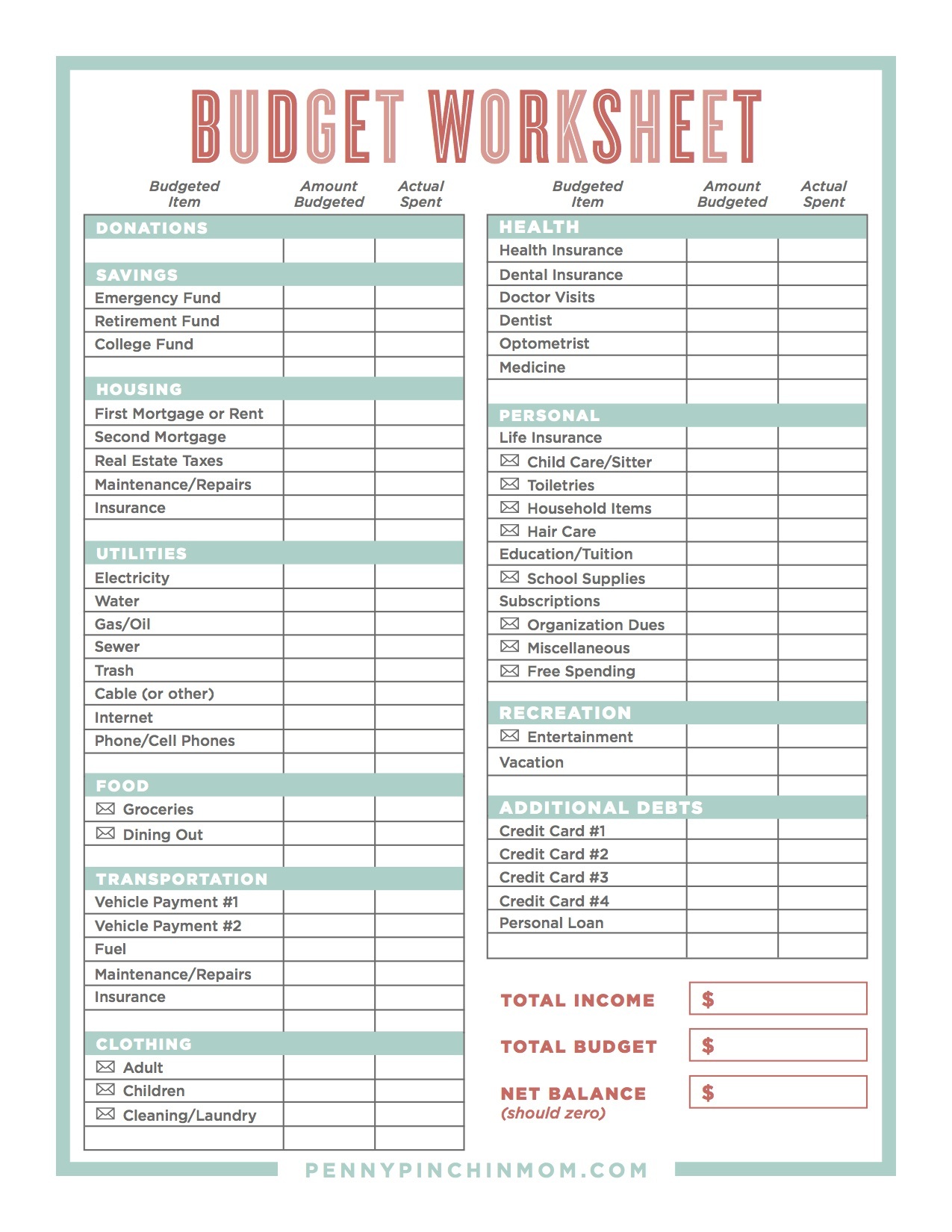 Creating a budget worksheet answers