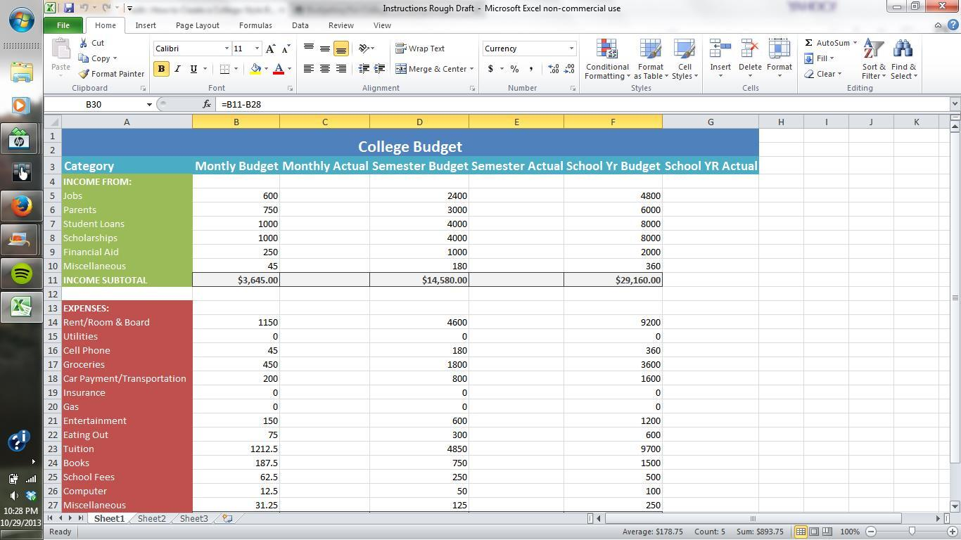 how to make a monthly budget spreadsheet in excel natural buff dog. Black Bedroom Furniture Sets. Home Design Ideas