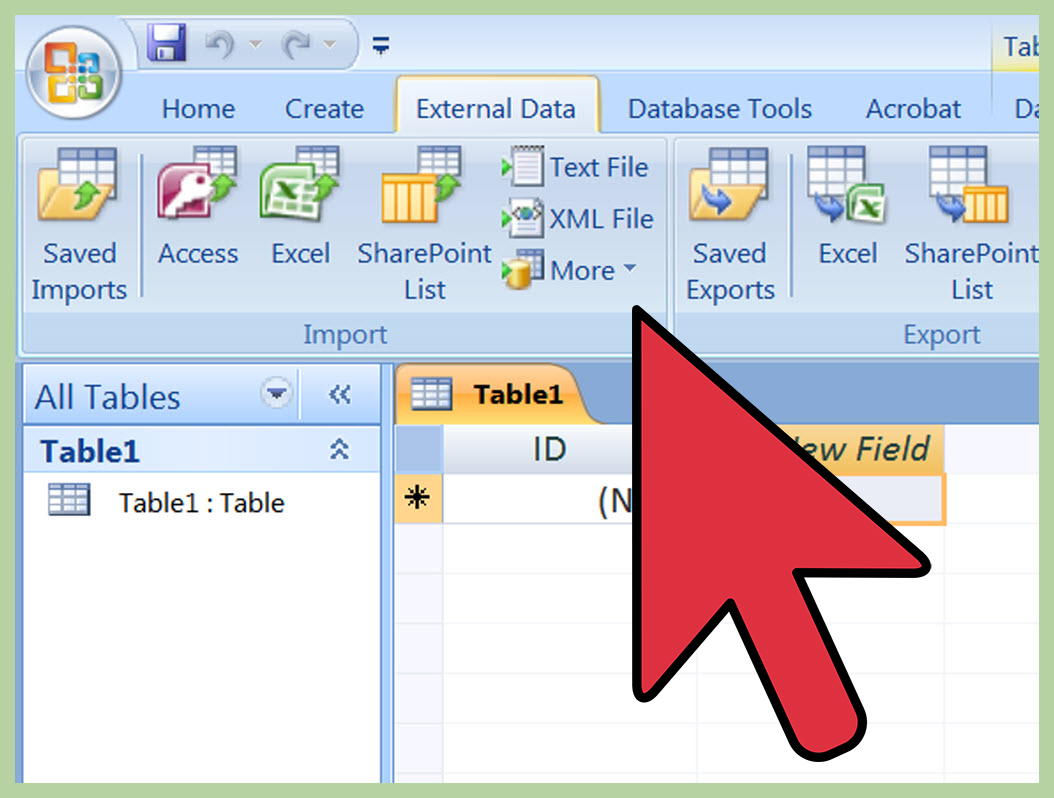 import excel into access 2013