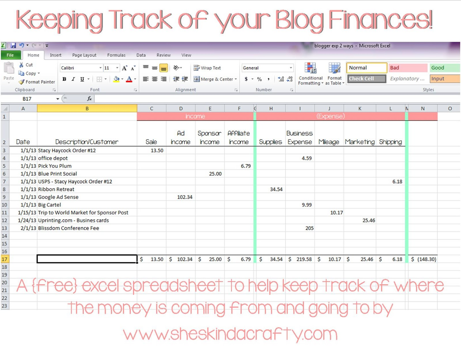 monthly income and expenses sheet