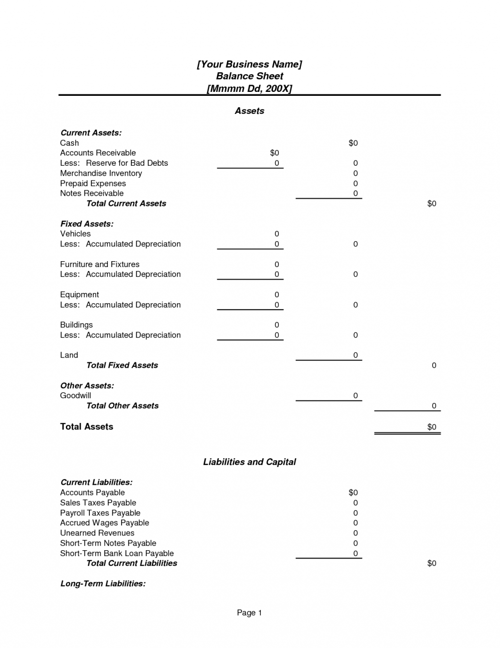 Personal assets and liabilities statement template for Asset and liability statement template