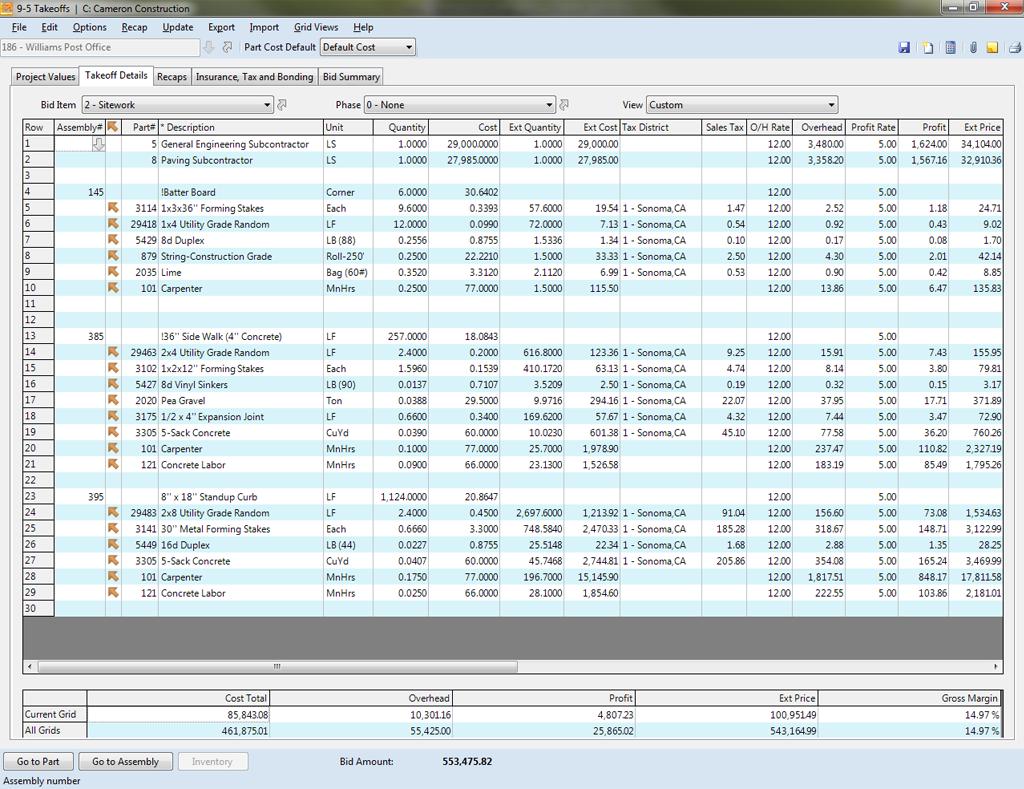 quantity takeoff excel spreadsheet