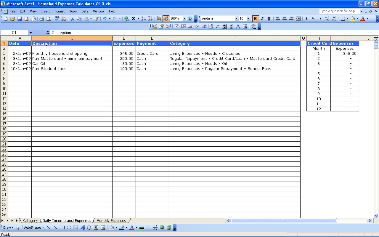 small business income and expense spreadsheet
