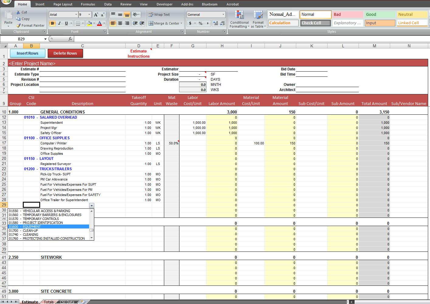 construction excel templates