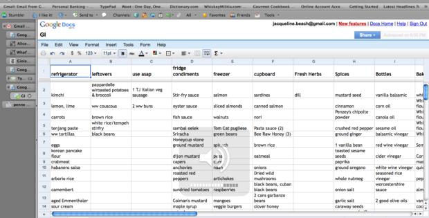 pantry inventory spreadsheet