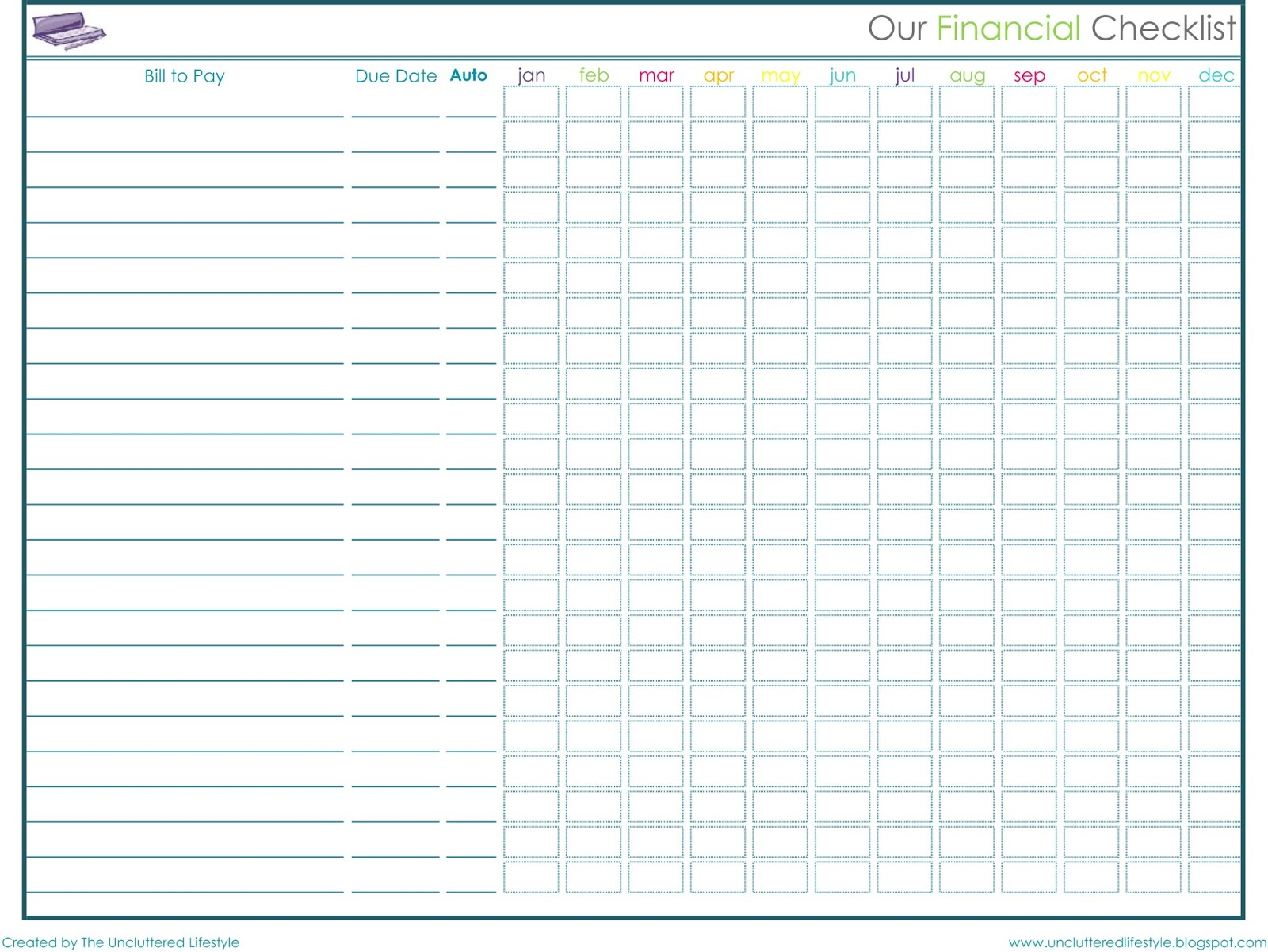 Free Bill Management Spreadsheet template