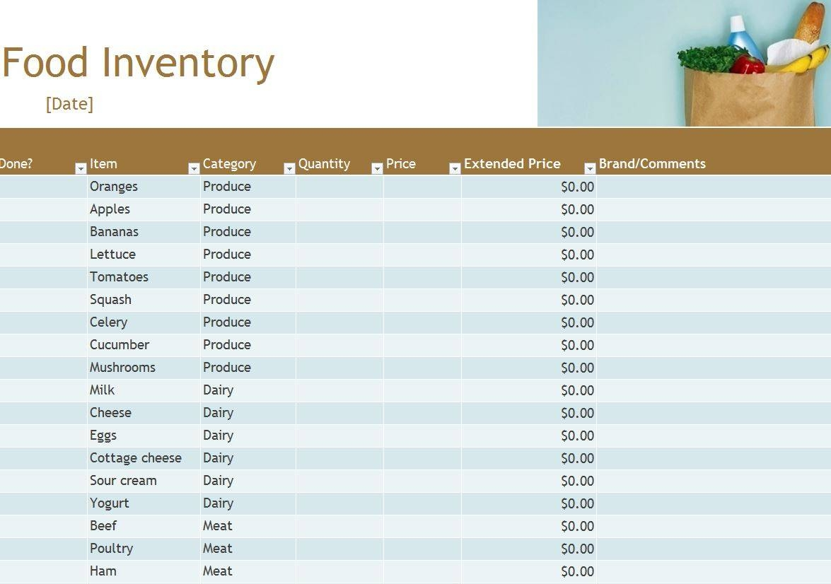 Free Food Pantry Inventory Spreadsheet