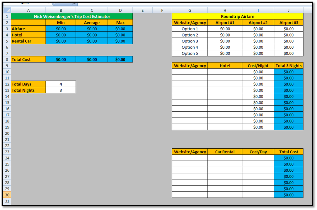 travel spreadsheets