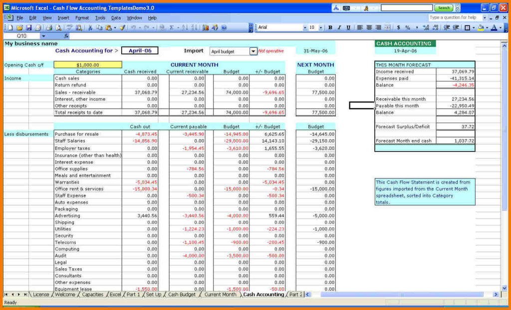 income and expense spreadsheet template excel