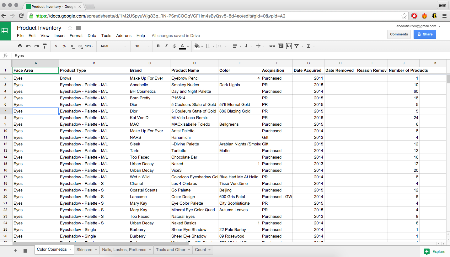 Makeup Inventory Spreadsheet