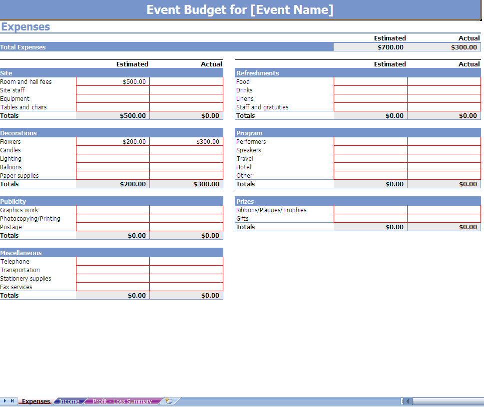 Party Expenses Spreadsheet
