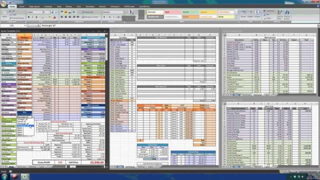 estimation spreadsheet excel