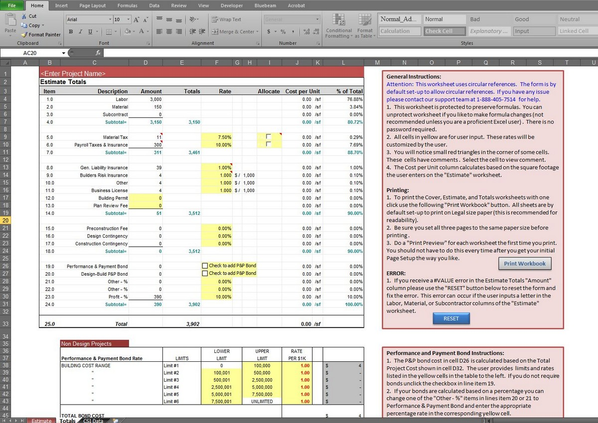 Download excel spreadsheet for construction estimating for Free online construction estimator