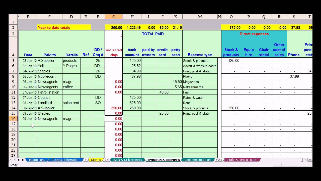 excel spreadsheet for small business income and expenses free